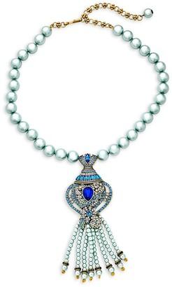 Heidi Daus Fancy Bottle Floral Rhinestone Beaded Fringe Pendant Necklace
