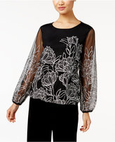 Alfani Petite Embroidered Blouson Top, Only at Macy's
