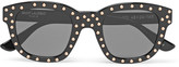 Saint Laurent - Lou Square-frame Studded Acetate Sunglasses