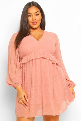 boohoo Plus Dobby Mesh Blouson Sleeve Ruffle Detail Dress