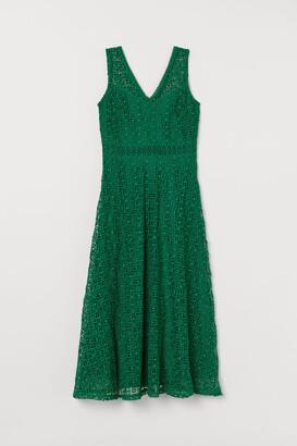 H&M Lace V-neck Dress - Green