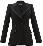 Dolce & Gabbana Single-breasted Faille-trimmed Wool-blend Blazer - Womens - Black