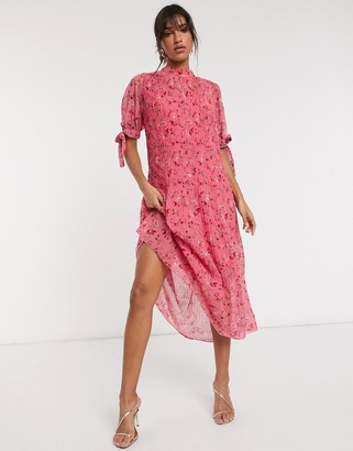ASOS DESIGN pleated trapeze midi dress with tie sleeves in ditsy floral print