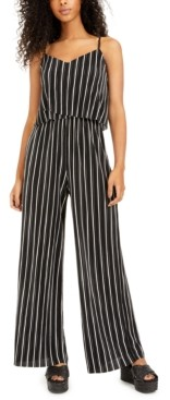 BeBop Juniors' Striped Wide-Leg Jumpsuit