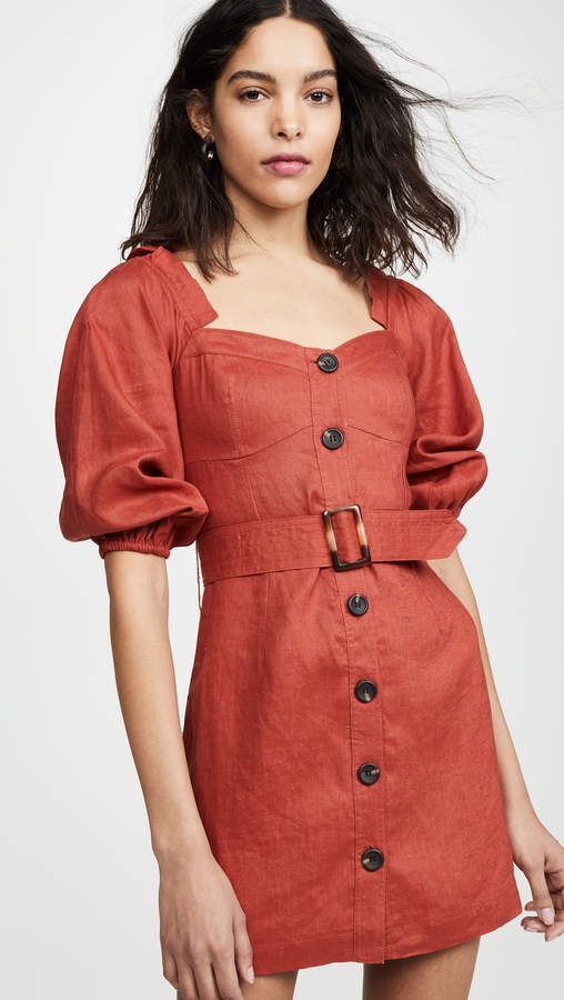 SUBOO Rising Sun Button Front Mini Dress