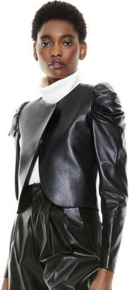 Alice + Olivia Addison Puff Sleeve Leather Jacket