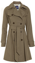 Pleated cotton-blend trench coat