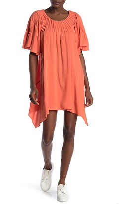 WEST KEI Pleated Asymmetrical Hem Tunic Dress