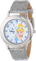 Disney Kids' W000392 Tween Glitz Cinderella Stainless Steel Silver Glitter Leather Strap Watch