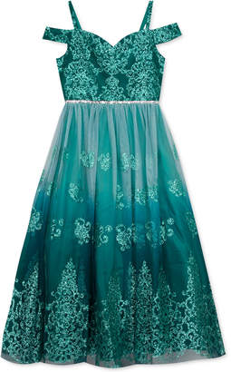Rare Editions Big Girls Ombre Glitter Damask Gown