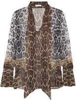 Equipment Jacqueleen Pussy-bow Leopard-print Silk-georgette Blouse - Leopard print