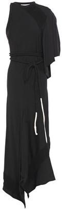 Chloé Asymmetric Frayed Satin-crepe Midi Dress