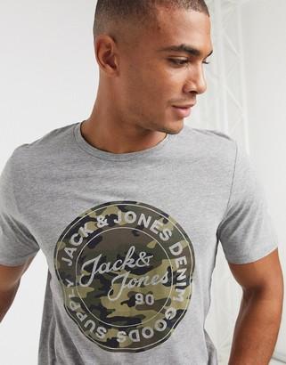 Jack and Jones camo logo t-shirt