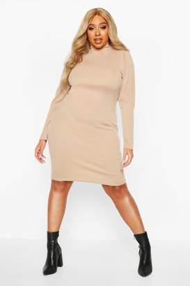 boohoo Plus Soft Rib High Neck Puff Sleeve Mini Dress