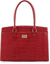 St. John Crocodile-Embossed Leather Work Tote Bag, Red