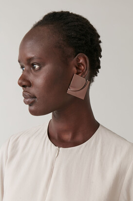 Cos Large Square Embossed Earrings