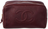 Chanel Burgandy Caviar Leather Cosmetic Case