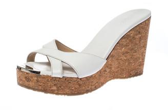 Jimmy Choo Wihte Leather Prima Cork Wedge Platfrom Sandals Size 38