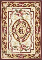 Safavieh Chelsea Collection HK72A Hand-Hooked Ivory and Burgundy Wool Area Rug, 1 feet 8 inches by 2 feet 6 inches