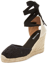 Soludos Lace Ankle-Wrap Espadrille Wedge