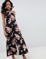 Asos Design DESIGN Cross Front Jumpsuit With Wide Leg In Floral Print