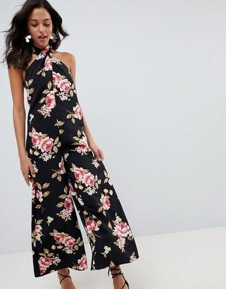 Asos Design DESIGN Cross Front Jumpsuit With Wide Leg In Floral Print-Multi