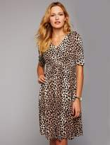 A Pea in the Pod Fit and Flare Cheetah Print Maternity Dress