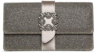 Manolo Blahnik Capri jewel dark gold glitter clutch