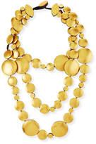 Viktoria Hayman Triple-Strand Golden Foil Disc Necklace