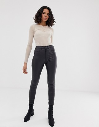 Dr. Denim Solitaire super high waist leather look super skinny jean-Black
