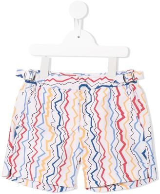 Orlebar Brown KIDS zig-zag stripes shorts