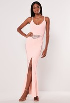 Missguided Pink Lace Panel Strappy Fishtail Maxi Dress