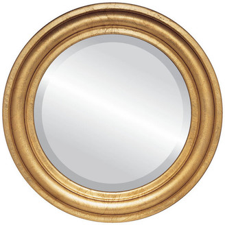 """The Oval And Round Mirror Store Philadelphia Framed Round Mirror in Gold Leaf, 27""""x27"""""""