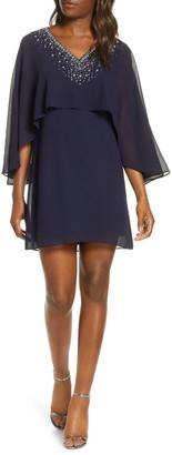 Vince Camuto Chiffon Cape Cocktail Dress