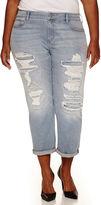 Arizona Destructed Boyfriend Jeans - Juniors Plus