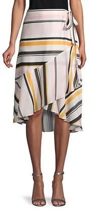 Ava & Aiden Striped High-Low Ruffle Wrap Skirt