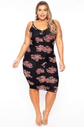 Curvy Sense Sleeveless Mesh Overlay Ruched Dress in Black Size 1X