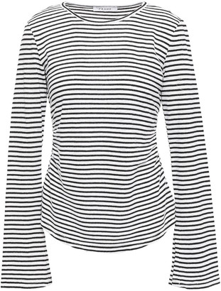 Frame Glittered Striped Linen And Cotton-blend Top