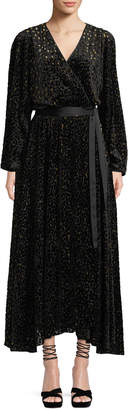 Diane von Furstenberg Metallic Animal-Print Velvet Devore Wrap Dress