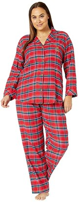 Lauren Ralph Lauren Plus Brushed Twill Long Sleeve Notch Collar Long Pants Pajama Set (Red Plaid) Women's Pajama Sets