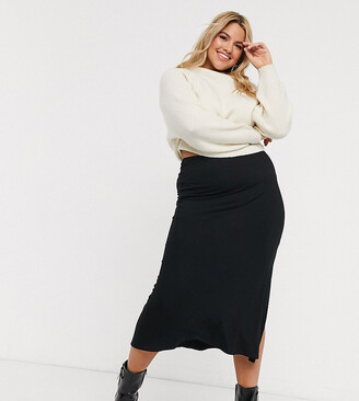 ASOS DESIGN Curve bias cut jersey midi slip skirt with split