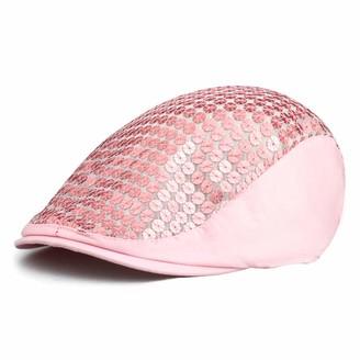 iTemer Ladies Flat Cap Cotton Sequins Fashion Beret Hat Summer Duckbill Flat Cap Hat (Pink)