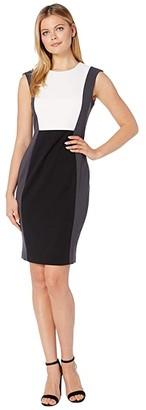 Calvin Klein Color Block Sheath Dress (Black/Cream/Charcoal) Women's Dress
