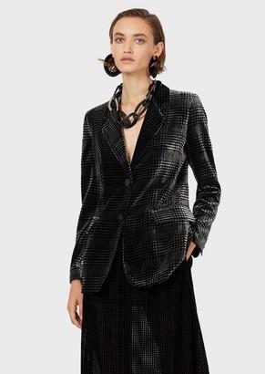 Emporio Armani Printed-Velvet, Glen Plaid, Single-Breasted Jacket