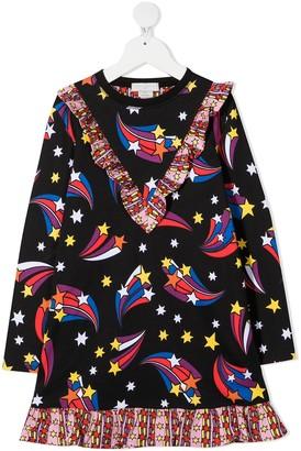 Stella Mccartney Kids Star Print Ruffle Detail Dress