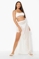 Thumbnail for your product : boohoo Tall Linen Split Side Maxi Skirt