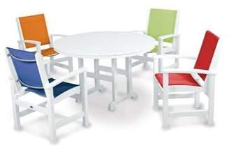 Polywood Coastal 5-Piece Dining Set Finish: White, Fabric: Royal Blue