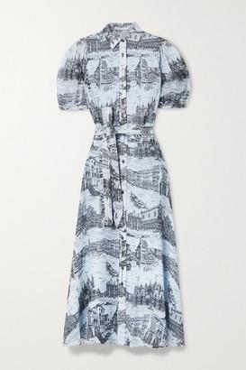 Derek Lam 10 Crosby Faye Belted Printed Crepe De Chine Midi Shirt Dress - Light blue