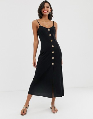 Asos Design DESIGN maxi slubby cami swing dress with faux wood buttons-Black