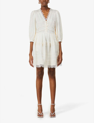 Self-Portrait Lace-trim crepe mini dress